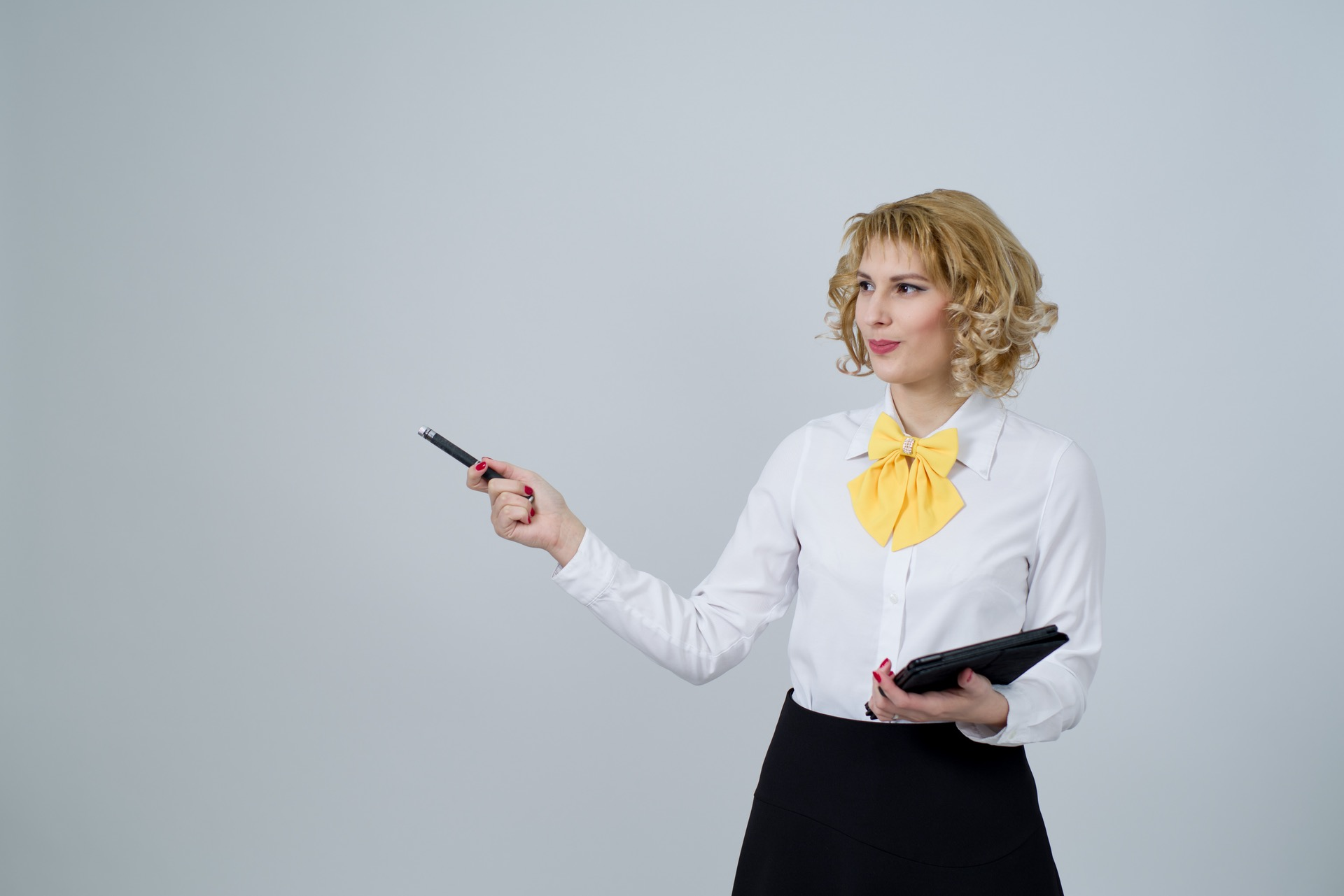 Blonde woman business pitch