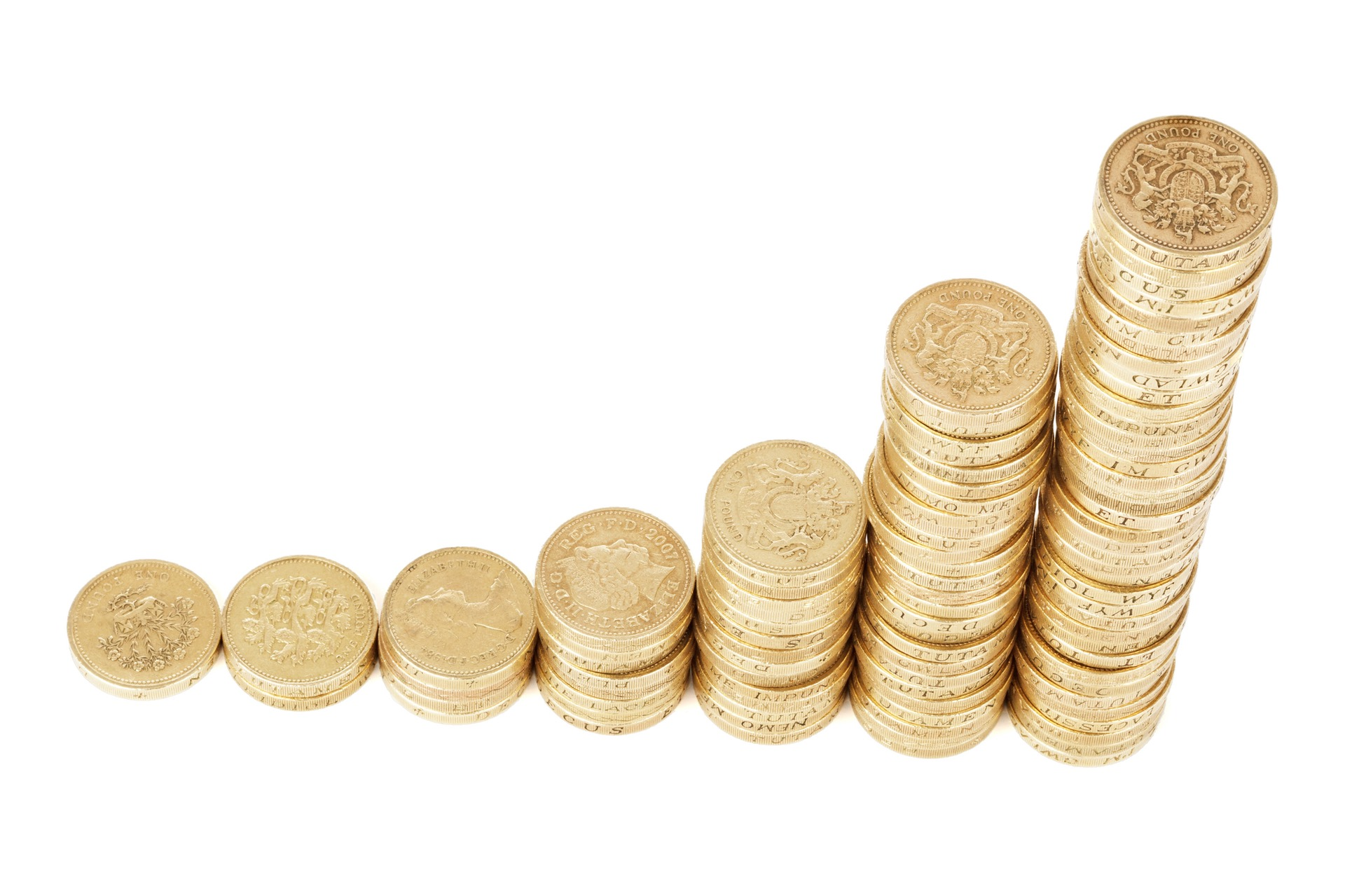 Stack of increasing pound coins
